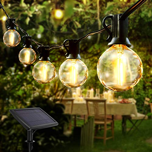 Solar String Lights Garden, VOKSUN 7.6M/24.9ft G40 25 Bulbs Outdoor Waterproof Crystal Ball LED Fairy Lights, Decorative Lighting for Home, Garden, Patio, Party, Festival, Warm White[Energy Class A++]