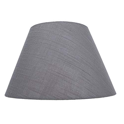 Medium Lamp Shade,Alucset Barrel Fabric Lampshade for Table Lamp and Floor Light,7x13x7.8 inch,Natural Linen Hand Crafted,Spider (Grey)