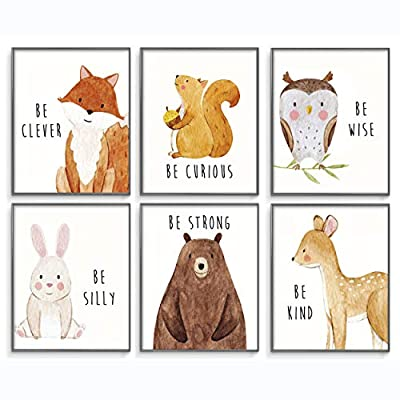 Nursery Wall Decor, Woodland Nursery Decor, Baby Room Decor, Baby Nursery Wall Decor, Woodland Creatures Nursery, Baby Wall Decor, Nursery Decor for Boys, Nursery Decor, Set of 6 Posters 8x10in.
