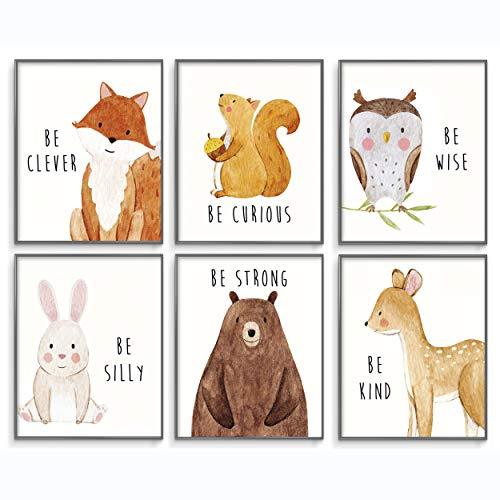 Nursery Wall Art, Woodland Nursery Decor, Woodland Nursery Decor for Boys, Baby Animal Pictures for Nursery, Woodland Nursery, Nursery Prints, Woodland Animal Nursery Decor, Set of 6 Posters 8x10in.