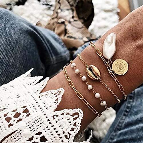 Bohend Boho En capas Sheel Esposas Oro Perla Cadena de mano Talón Multicapa Ajustable Pulsera Joyería para Las mujeres y las niñas (Paquete de 4)