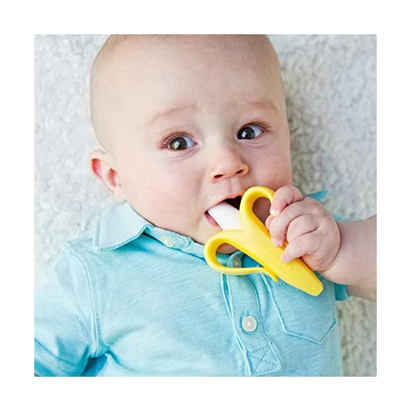 Baby Banana – Yellow Banana Toothbrush, Training Teether Tooth Brush for Infant, Baby, and Toddler