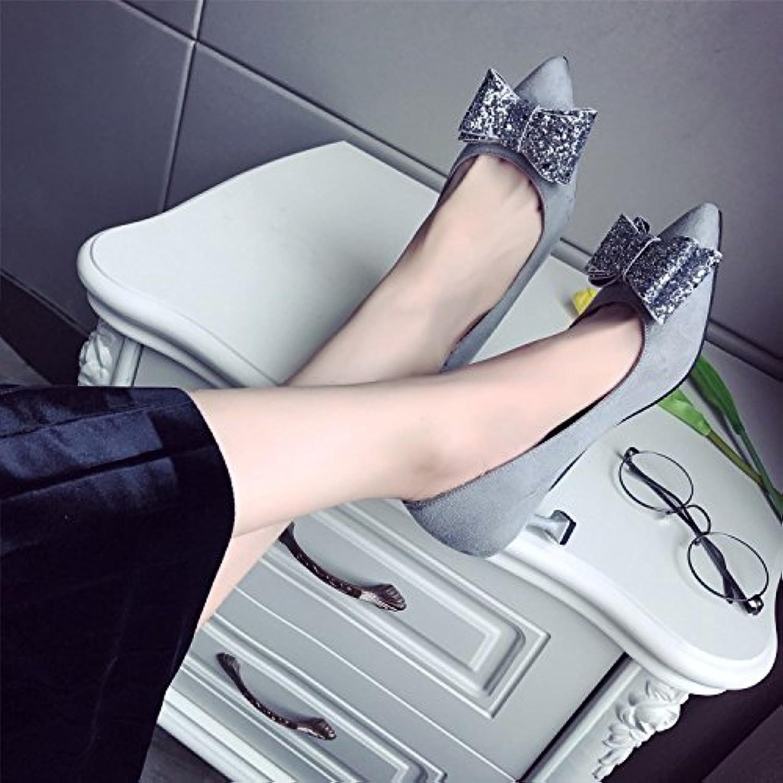 Xue Qiqi Satin Bow Tie high-heel Schuhe mama Schuhe tipp Licht von Lady weiblichen begleitet wird.