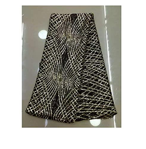 TCross Malla de Bordado de Encaje francés Blanco de 5 Yardas, Tela de Bordado Africano, Vestido de Encaje con Lentejuelas de Vestido de Novia (Color : Negro)