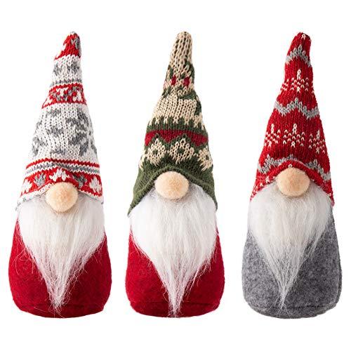 3 Packs Swedish Tomte Christmas Gnome Ornaments- 3 Styles Handmade Scandinavian Christmas Tomte Knitting Nordic Nisse Santa Elf Plush Dolls for Xmas Thanksgiving Winter Holiday Table Decor Ideal Gifts