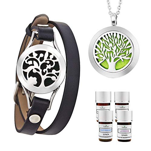 LorFain Essential Oil Bracelet and Necklace, Stainless Steel Aromatherapy Pendant Locket Bracelets Leather Band with 48 Pads in 4 Scents, Girls Women Jewelry Gift Set - Black