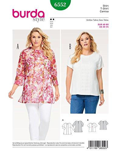 Burda 6552 Schnittmuster Shirt und Bluse (Damen, Gr. 46-60) Level 2 leicht
