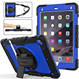 SEYMAC stcok Case for iPad 6th/5th Generation, Shock-Proof [Full-Body] Case with 360 Degrees Rotating Stand [Pencil Holder] [Screen Protector] Hand Strap for iPad 6th/5th/ Air 2/ Pro 9.7 (Blue+Black)