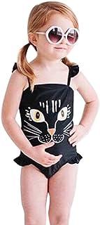 幼児用子供用ベビー女の子ワンピース漫画印刷水着水着ビーチウエア 6T/7T ブラック Freshzone