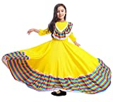 Riekinc Girls Mexi Long Dancing Dress Carnival Halloween Party Swingskirt Yellow