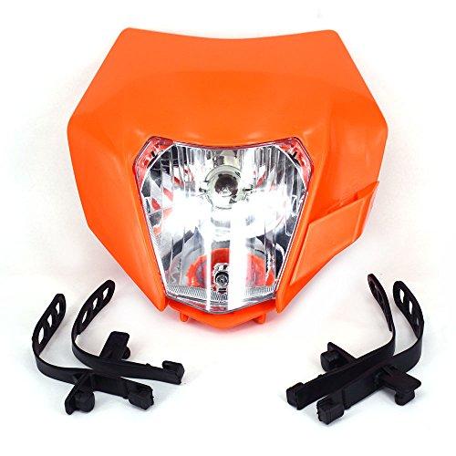 Lámpara de Cabeza de Faro Universal Luz Carenado Street Fighter Máscara Luz de Marcha Diurna Luces de señal de Vuelta para EXC250 SX250 SXF250 EXC450 SX350 SXF450 EXC525 640LC4 Naranja
