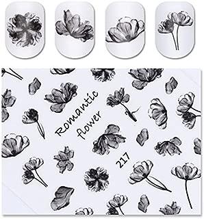Black Ink Flower 3D Nail Sticker Romantic Painting Semi-transparent Adhesive Nail Art Transfer Decal