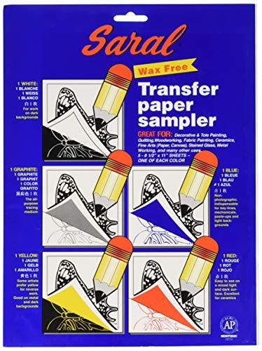 Saral Wachsfreies Transferpapier, inklusive je 1 Stück weiß graphit, gelb, blau und rot
