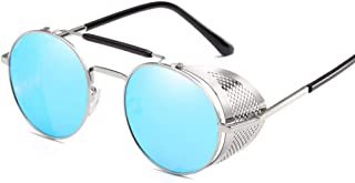 Fashion Steampunk Men Women Glasses UV Protection Retro Round Metal Sunglasses Retro (Color : Blue)