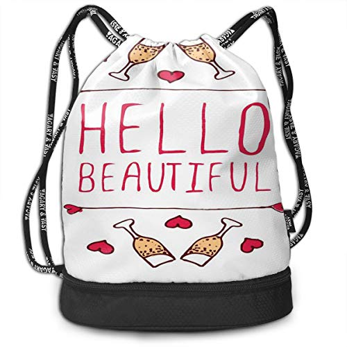 DDHHFJ Multifunctional Drawstring Backpack for Men & Women, Saint Love Valentines Day Celebration Text Typography and Glasses of Champagne,Travel Bag Sports Tote Sack with Wet & Dry Compartments