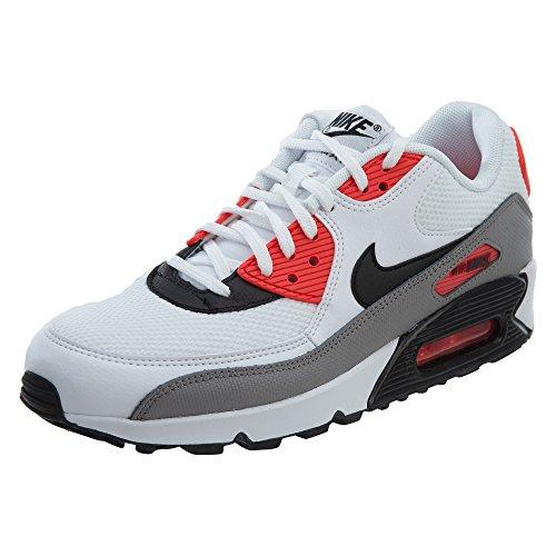 Nike Air Max 90 - Zapatillas de correr para mujer, color blanco/negro/polvo/rojo solar, 8 para mujer