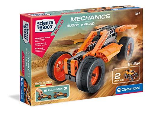 Clementoni- Scienza Build-Buggy & Quad Pull Back, Set di Costruzioni, Laboratorio Meccanica, Gioco scientifico (Versione in Italiano), Bambini 8 Anni+, Made in Italy, Multicolore, 19234
