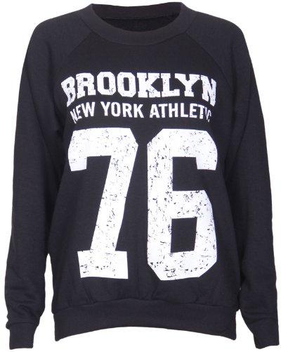 Purple Hanger - Frauen Brooklyn New York Athletic 76 Uni-Team Aufdruck Damen Lange Long Baseball Ärmel Rundhals Ausschnitt Sweatshirt Pullover Top - 40-42, Schwarz