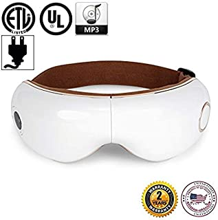 SKANDAS® Eye Massager (2019 New Model) - Facial mask/Massage Glasses Rechargeable with Vibration, shiatsu, air Compression, Heat and Music – 10 Years Official Warranty by GLOBAL RELAX® US