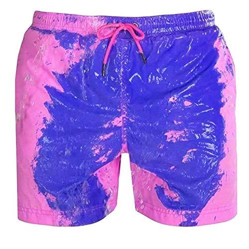 Vensf Herren Sommer temperaturempfindliche farbwechselnde Strandhose Badehose Shorts (Pink, M)