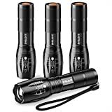 Best LED Flashlights - Pack of 4 Tactical Flashlights, BYBLIGHT 800 Lumen Review