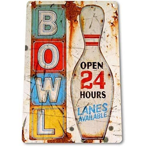 Gfrkklju TIN SIGN: Bowl Sign Tin Metal Sign Bowling Ball Rustic Alley Sports Decor-20x30cm