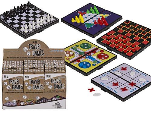 OOTB Magnetische Reisespiele, Mini (Schach, Ludo, Dame, Halma & DREI gewinnt) ca. 13 x 7 cm