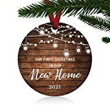 ZUNON First Christmas in Our New Home Ornaments 2021 Our First Christmas New Home Married Wedding Decoration 3' Ornament (New Home Ornament 1)