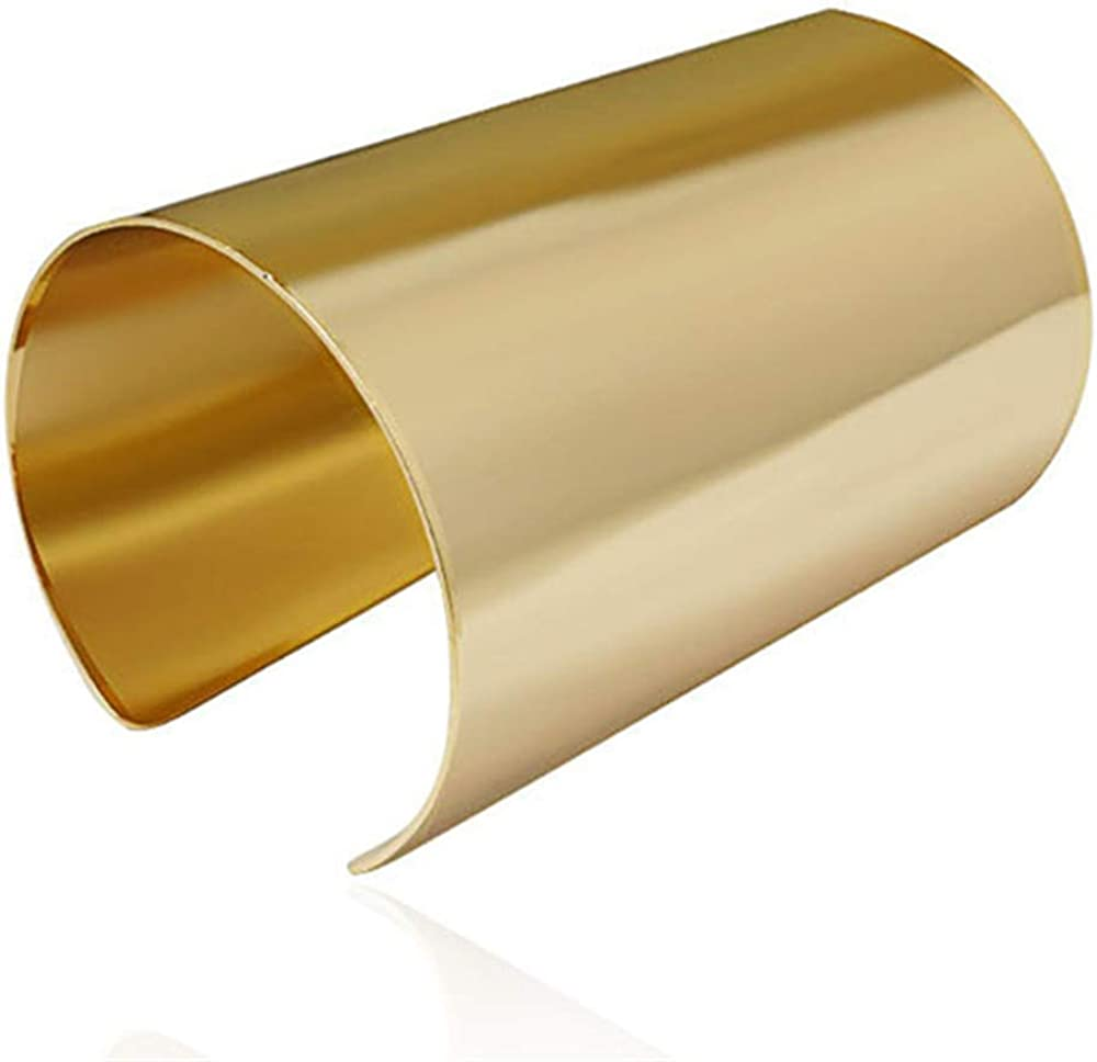 Gold Plated Long Hollow Layered Multicyclic Wire Wrap Cuff Bracelets Punk Geometric Wide Refacing Polish Glossy Open Adjustable Wrist Bangle for Women Girls Cool Jewelry