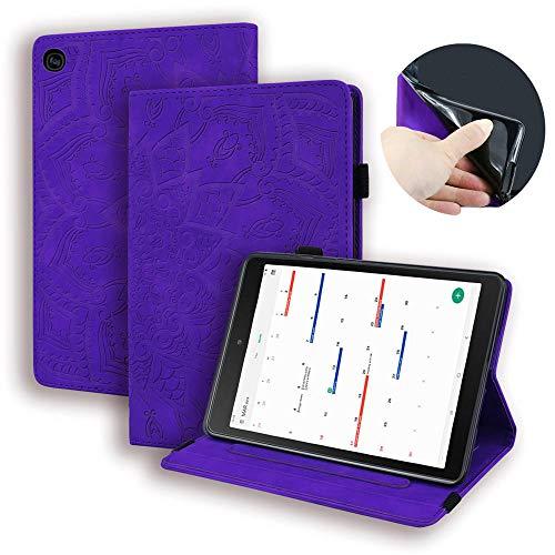 Bloemenpatroon Tablet Cover Samsung Tab A10.1 2019 SM-T510 T515 Case Flip Faux Lederen Kaart Clip Tablet Stand Beschermende Cover Paars