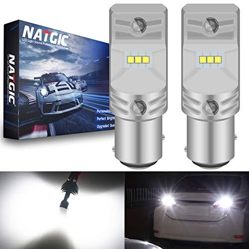 NATGIC BAY15D 1157 2057 7508 Ampoules LED blanc xénon 1700LM CSP Puces pour arrêt de frein, feu de recul, 12V-24V (lot de 2)