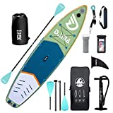 DAMA Inflatable Stand Up Paddle Board 11'x32 x6, Inflatable Yoga Board, 5L Dry Bags, Camera Seat, Travel Bag, Floating Paddle, Double Action Pump, Board Carrier, Durable & Stable for 3 People