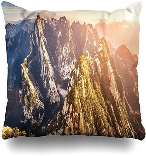 Doble Cojines Fundas 18' Vista Sur Monte Hua Huashan Pico Naturaleza Montaña Cima Asia Funda de Almohada Suave para la Piel