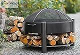 Korono Feuerschale 60cm mit 2 Griffen & Ablage für Holz & Funkenschutz Gitter | Gartenfeuer | offenes Feuer - elegante Feuerstelle