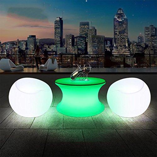 XINYE LED Rougeoyant Ronde Table avec 2 Canapé 16 Couleur Changer Rechargeable Président avec Télécommande