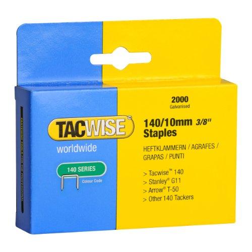 Tacwise 0347 Grapas Serie de 140 x 10 mm (Caja de 2000 Unidades), Metal, 10 mm, Set Piezas
