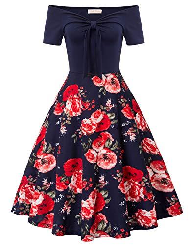Belle Poque 50s Vintage Retro Bandeau Off Shoulder Blumen Partykleid Strandkleid Größe 2XL BP2014-3