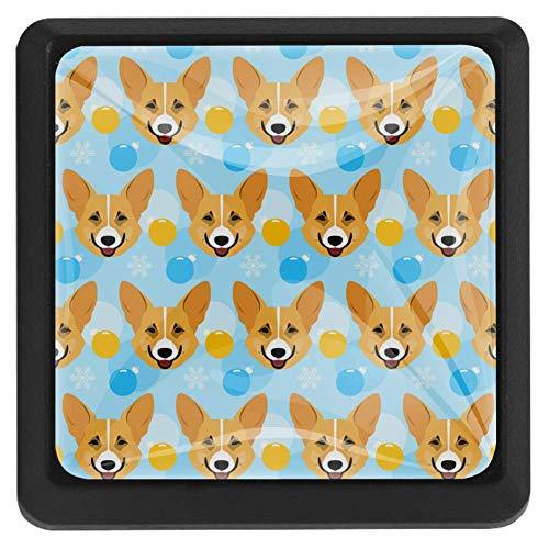 Quadratische flache walisische Corgi-Porträt 3-teilige Schrankknöpfe Runde Glasschubladengriffe Ziehen Sie mit Schrauben für Küche, Badezimmerschrank (1-3/8 Zoll)