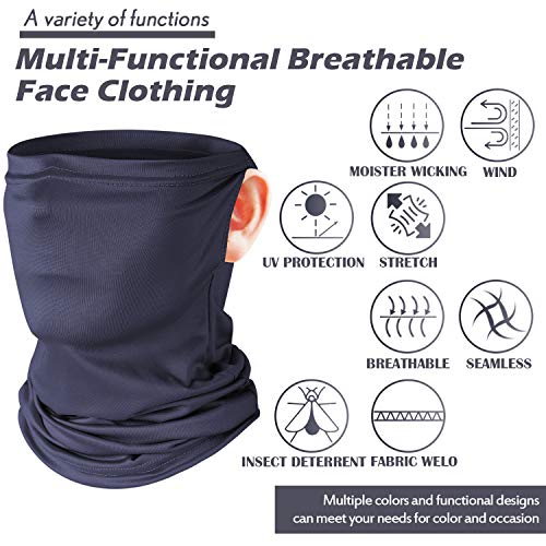 SATINIOR 6 Pieces Summer Face Cover UV Protection Neck Gaiter Sunscreen Breathable Bandana (Black, Grey, Wood Green, Bright Blue, Apricot, Dark Blue)
