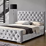 mm08enn Upholstered ATN Diamante Bed Frame in <span class='highlight'>Crushed</span> <span class='highlight'>Velvet</span> Fabric available in Double or King Size (4ft6 Double, Ice Silver)
