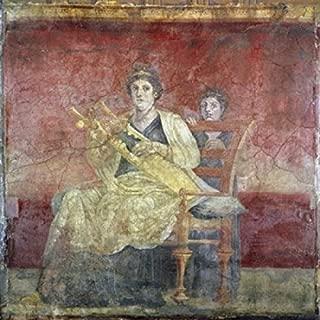 Posterazzi Lady Playing the Kithara (From Boscoreale Villa Pompeii) ca. 50 BCE Roman Art Fresco Poster Print (18 x 24)