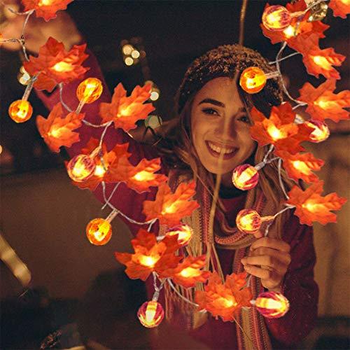 LEAMER Luces de hojas de arce, guirnalda de otoño con luces de calabaza, guirnalda de arce, luz de otoño para Halloween, Acción de Gracias y Navidad