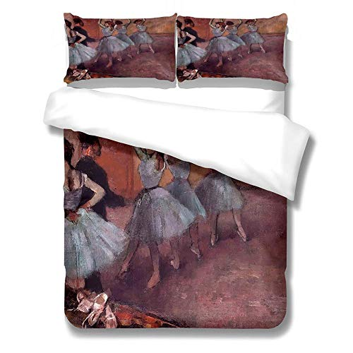 zzqxx Kids Duvet Cover Ballet Print Single Duvet Quilt Cover 55.1 x 78.7 inchs Bedding Set Hypoallergenic Polyester Zippered Revrsible with 2 Pillowcases Ultra Soft