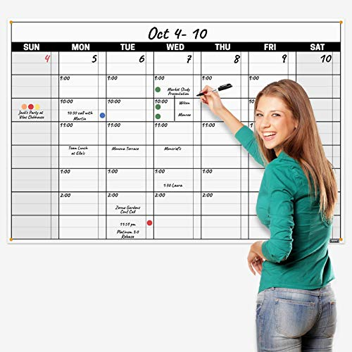 Dunwell Jumbo 32x48 Dry Erase Undated Monthly Weekly Planner, Includes Extra 2020 Calendar, Laminated Erasable Calendars by Dunwell Reusable