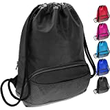 ButterFox Water Resistant Swim Gym Sports Dance Bag Drawstring Backpack Cinch Sack Sackpack for Men and Women, Waterproof Fabric - Black