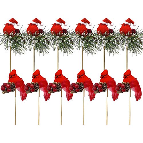 Moligh doll 12 Pack Birds Attached to Wooden Stems/Red Cardinals Birds Decor Christmas DIY Ornament