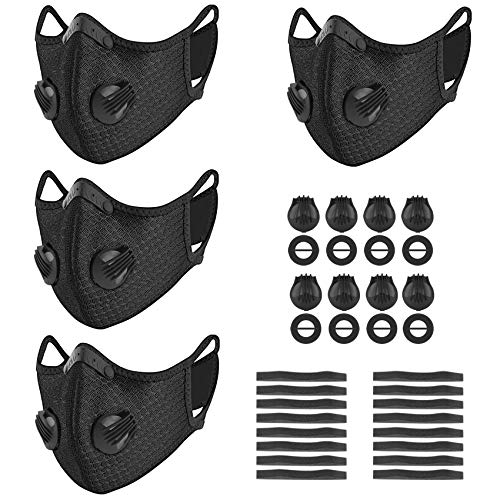 kungfuren 4 Sets Sports Cycling Masks with Activated Carbon Filter, Cycling Mask with 8 Breathing Valve and 16 Soft Foam Padding for Walking Running Cycling