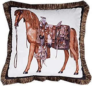 Venus*L Tassels Double-Sided Velvet Decorative Throw Pillow Covers,Brown White Leopard & Zebra Pattern,Horse,Saddle,Carriage,Knightship,Knight& Scepter,18x18 Inch(45x45cm)