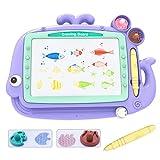 Lavagna Magnetica per Bambini - Lavagna Magica Cancellabile con 4 Colori,Schizzo Tampone Giocattoli Educativi e Creativi per 3 4 5 Anni,35,5 * 26 cm