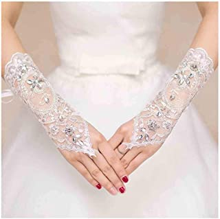 Olbye Women' Wedding Lace Gloves Bridal Fingerless Tulle Gloves Crystal Sequins Wrist Cuffs White Hook Finger Gloves